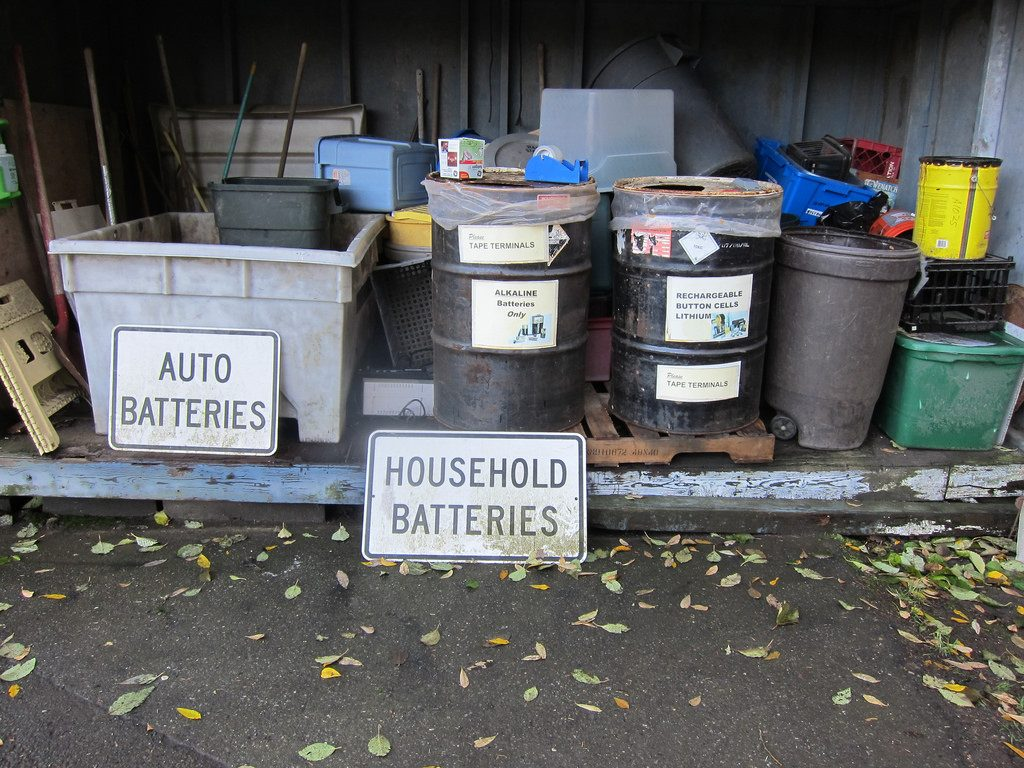 Assorted containers to collect Old Inverter Batteries to Be reclaimed by UPS manufacturers
