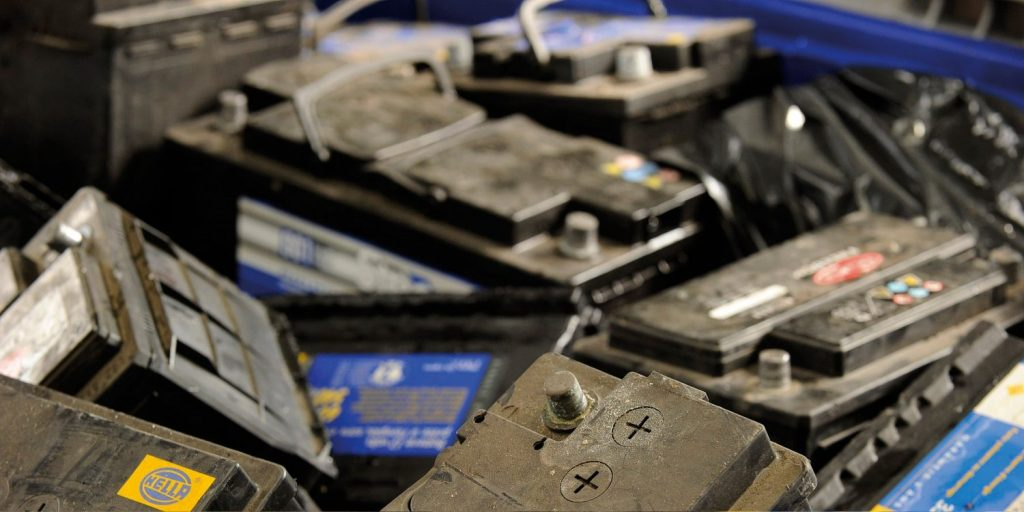Old, Unused car batteries dumped for recycling by ups manufacturers