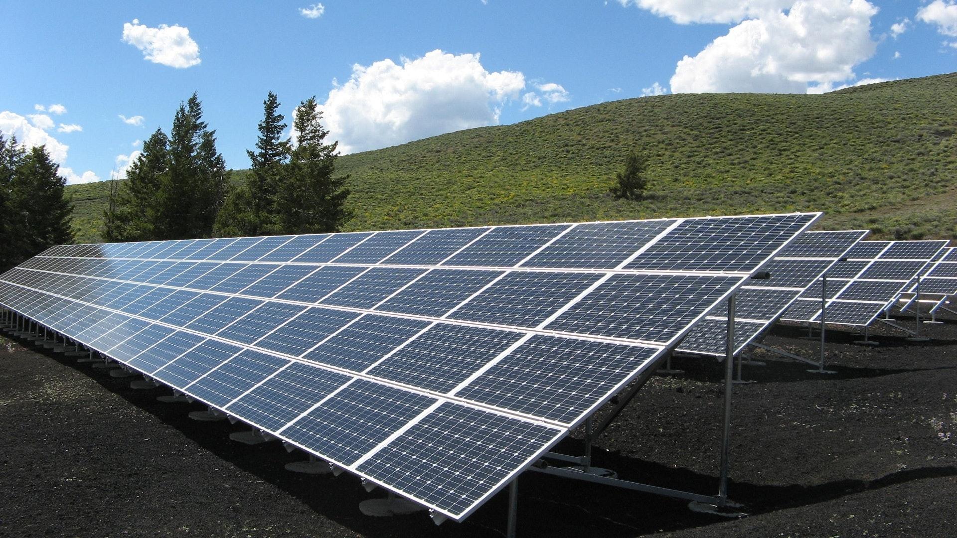 Solar Power Panel On Summer Season
